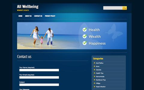 Screenshot of Contact Page allwellbeing.com - Contact us - All Wellbeing - captured Nov. 3, 2014