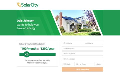 Screenshot of Landing Page solarcity.com - SolarCity - A Cleaner, More Affordable Alternative to Your Utility Bill - captured Oct. 27, 2014