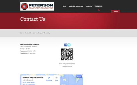 Screenshot of Contact Page getpcc.com - Contact Us - Peterson Computer Consulting - captured Oct. 22, 2014