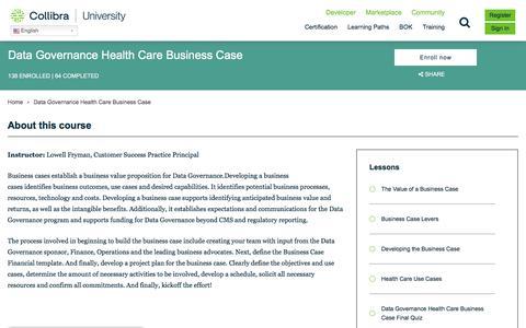 Screenshot of Case Studies Page collibra.com - Data Governance Health Care Business Case   Collibra University - captured Feb. 12, 2020