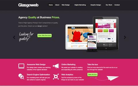 Screenshot of Home Page glasgoweb.co.uk - Web Design Glasgow   SEO & PPC   Glasgoweb Online Specialists - captured Sept. 30, 2014