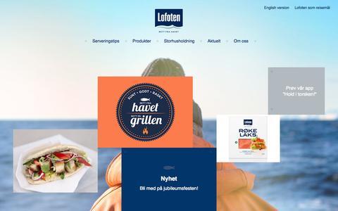 Screenshot of Home Page lofotprodukt.no - Lofoten - Fiskeprodukter og sjømat av beste kvalitet. - captured Oct. 2, 2014