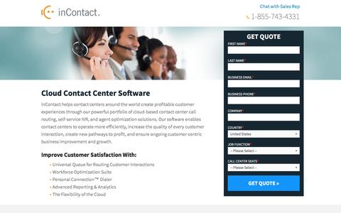 Screenshot of Landing Page incontact.com - inContact - Cloud Contact Center Software - captured Aug. 17, 2016
