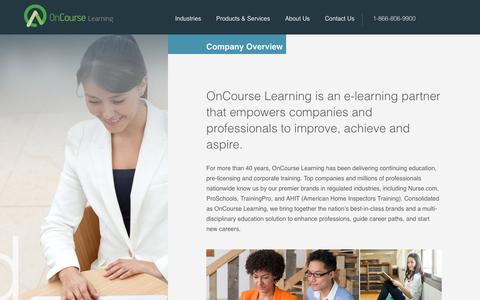 Screenshot of About Page oncourselearning.com - About Us - captured March 30, 2016