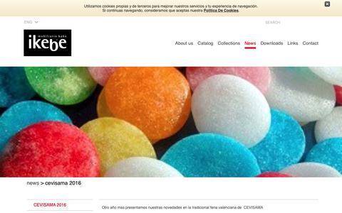 Screenshot of Press Page ikebe.es - CEVISAMA 2016 :: Ikebe bathroom furniture, bathroom decoration, bathroom design, bathroom mirrors, sinks, countertops bathroom, solid surface, gel coat - captured Oct. 1, 2018
