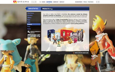 Screenshot of Products Page ankama.com - Products : Toys/ TCG/ Distribution - Ankama Group : Video Games,  TV and Cinema,  Editions, Press,  Média,  Events, Music, Products. - captured Sept. 23, 2014