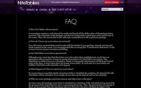 Screenshot of FAQ Page nitetables.com - FAQ   NiteTables - captured Sept. 11, 2014