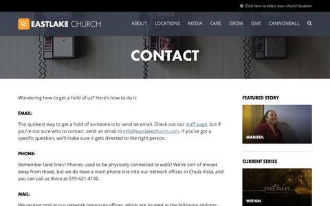 Screenshot of Contact Page eastlakechurch.com - Contact | EastLake Church - captured Nov. 4, 2018