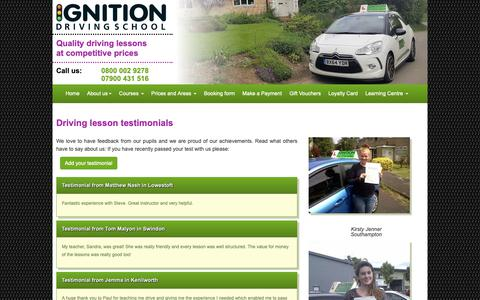Screenshot of Testimonials Page driving-lesson.co.uk - Ignition Driving School - Testimonials |  Driving Lessons | Intensive Driving Courses - captured Oct. 22, 2018