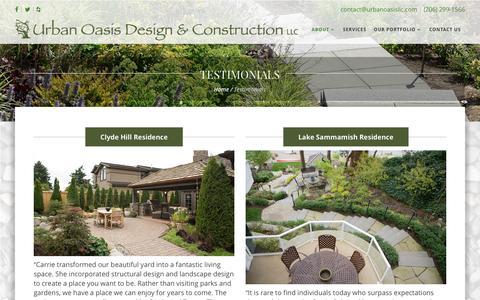 Screenshot of Testimonials Page urbanoasisllc.com - Testimonials | Seattle Landscape Design | Urban Oasis LLC - captured Dec. 7, 2016