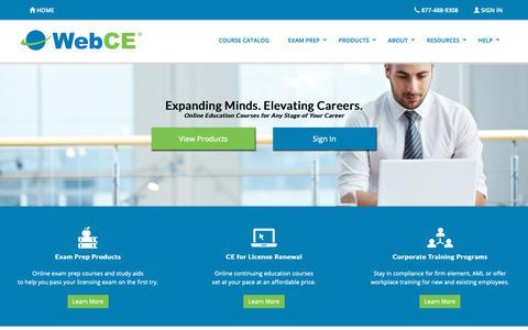Screenshot of Home Page webce.com - Continuing Education   CE & CPE   Training   WebCE - captured Feb. 14, 2019