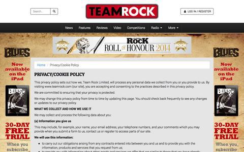 Screenshot of Privacy Page teamrock.com - TeamRock - captured Oct. 22, 2014