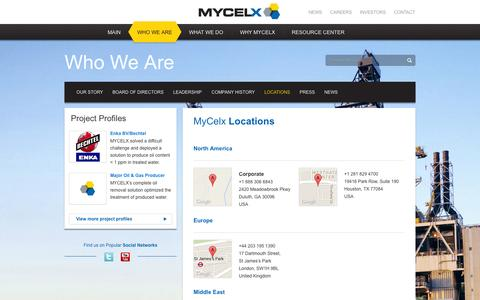 Screenshot of Locations Page mycelx.com - Locations | MyCelx Oil-Free Water Technology - captured Nov. 5, 2014