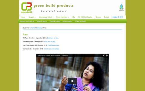 Screenshot of Press Page greenbuildproduct.com - Press - captured Oct. 3, 2014