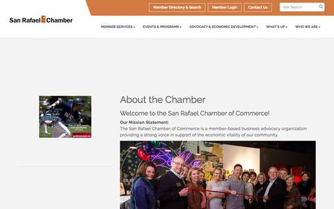 Screenshot of About Page srchamber.com - About Us - San Rafael Chamber of Commerce, CA - captured Oct. 4, 2017