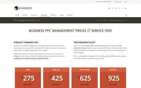 Screenshot of Pricing Page getshimmer.com - PPC Management Pricing | Budgets Big and Small | Shimmer - captured Oct. 4, 2014