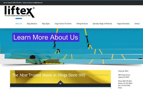 Screenshot of About Page liftex.com - About Liftex slings | Liftex Corporation - captured Nov. 8, 2016