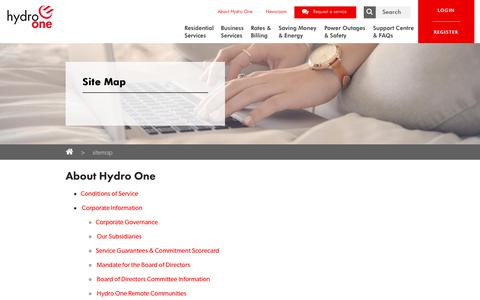Screenshot of Site Map Page hydroone.com - Site Map - captured Sept. 24, 2018