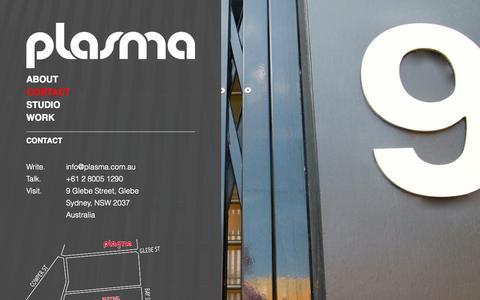 Screenshot of Contact Page plasma.com.au - Contact | Plasma - captured Sept. 30, 2014