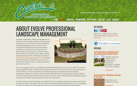 Screenshot of About Page evolveyourlawn.com - About Evolve Professional Landscape Management, LLC | Bartow, Winter Haven, Lakeland, Mulberry & Fort Meade - captured Oct. 3, 2014