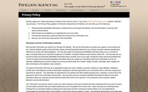 Screenshot of Privacy Page pavillionagency.com - Privacy Policy | Pavillion Agency - captured July 16, 2018