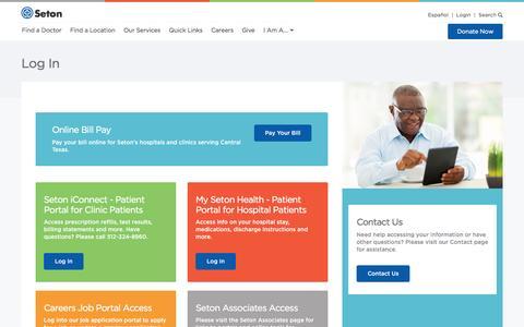 Screenshot of Login Page seton.net - Log In   Seton Healthcare Family - captured Sept. 19, 2016