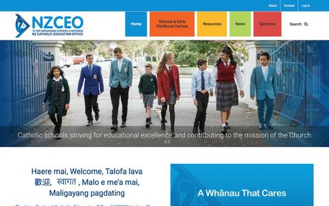 Screenshot of Home Page nzceo.org.nz - New Zealand Catholic Education Office supports leadership in education - captured July 3, 2018
