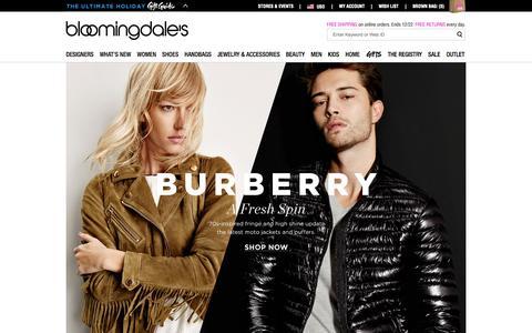 Screenshot of Home Page bloomingdales.com - Shop Bloomingdale's | Designer Dresses, Clothes, Shoes, Handbags, Cosmetics, Home and More - captured Nov. 17, 2015