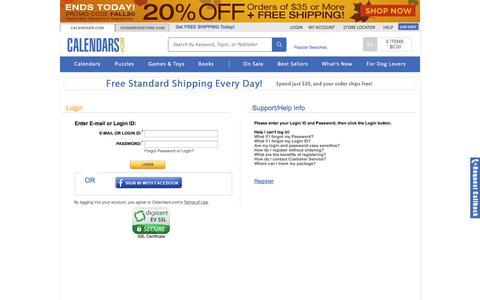 Screenshot of Login Page calendars.com - Login | Buy Calendars Online | Calendars.com - captured Sept. 24, 2014