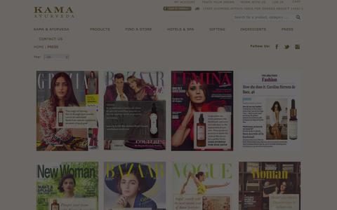 Screenshot of Press Page kamaayurveda.com - Press Release Listings - captured Jan. 9, 2016