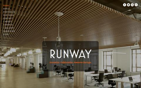 Screenshot of Home Page runway.is - Runway Incubator is home to awesome startups. 1355 Market St. San Francisco, California 94103 - captured Sept. 24, 2014