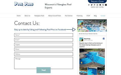 Screenshot of Contact Page poolproswi.com - Contact | Green Bay | Pool Pros | Wisconsin - captured Sept. 28, 2018