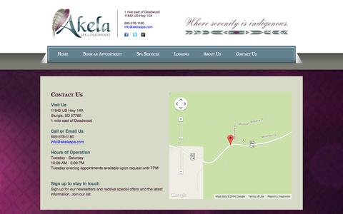 Screenshot of Contact Page akelaspa.com - Akela Spa of Deadwood :: Contact Us - captured Oct. 4, 2014