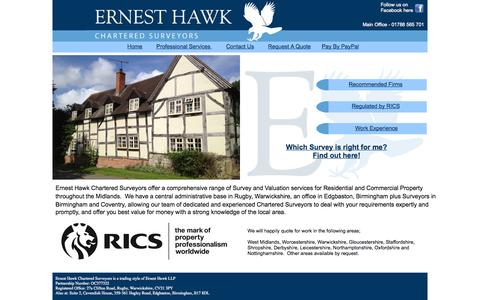 Screenshot of Home Page ernesthawk.co.uk - Welcome to Ernest Hawk Chartered Surveyors - captured Oct. 2, 2014