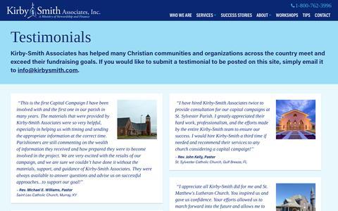 Screenshot of Testimonials Page kirbysmith.com - Testimonials Archive - Kirby-Smith Associates - captured Nov. 27, 2016