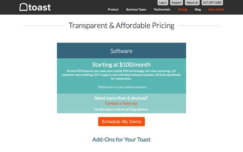 Screenshot of Pricing Page toasttab.com - Toast - Pricing - captured Sept. 23, 2015