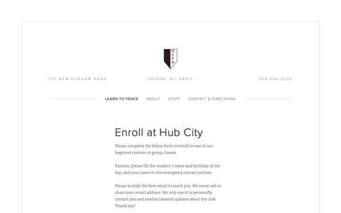 Screenshot of Signup Page hubcityfencing.com - Enroll at Hub City — Hub City Fencing Academy - captured Sept. 30, 2018