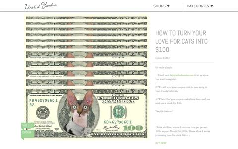 Screenshot of unitedbamboo.com - How to turn your love for cats into $100  |  United Bamboo - captured March 19, 2016