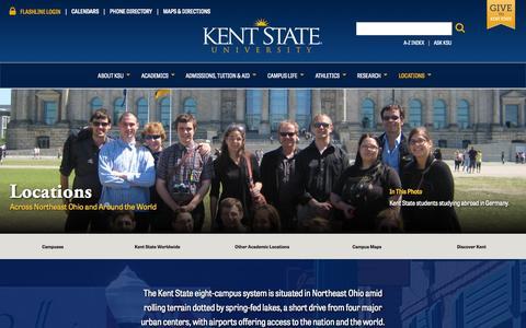Screenshot of Locations Page kent.edu - Locations | Kent State University - captured Sept. 22, 2014