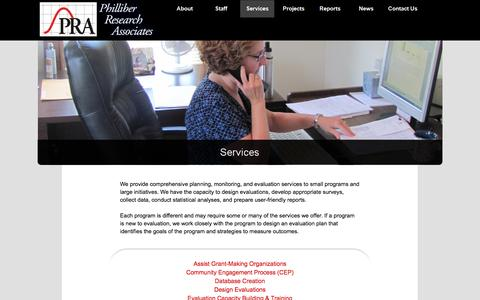 Screenshot of Services Page philliberresearch.com - PRA Services - PRA - Philliber Research Associates - captured Oct. 2, 2014