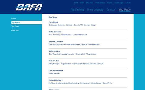 Screenshot of Team Page bafa.be - The Team | :: BAFA :: - captured Oct. 10, 2017
