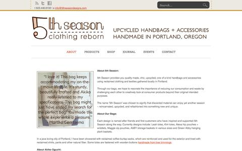 Screenshot of About Page 5thseasondesigns.com - About | 5th Season - captured Oct. 27, 2014