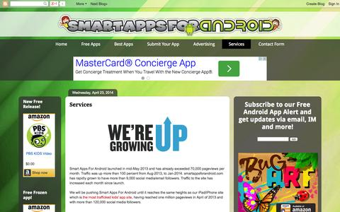 Screenshot of Services Page smartappsforandroid.com - Smart Apps For Android: Services - captured Oct. 7, 2014