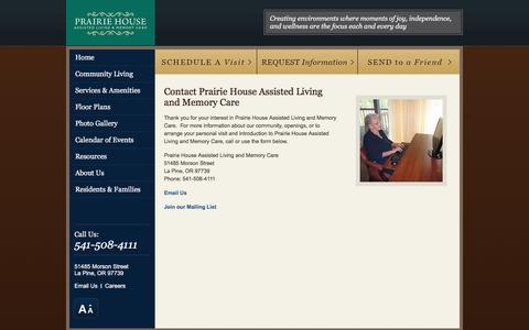 Screenshot of Contact Page prairiehousealf.com - Contact Us | Prairie House Assisted Living and Memory Care - captured June 19, 2016