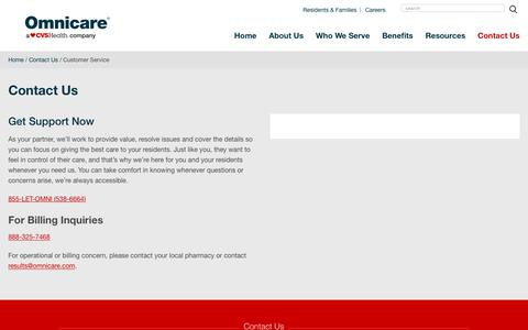 Screenshot of Support Page omnicare.com - Contact Us – Customer Service   Omnicare - captured Jan. 15, 2019