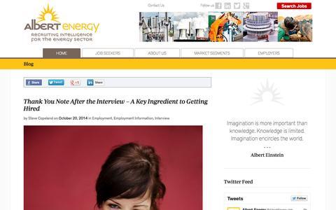 Screenshot of Blog albertenergy.com - Career and Job Search Blog | AlbertEnergy - captured Oct. 29, 2014