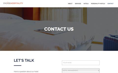 Screenshot of Contact Page engagehospitality.com - Contact | Engage Hospitality - captured July 19, 2018