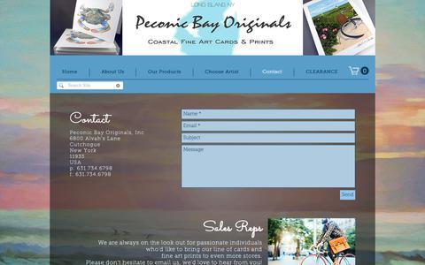 Screenshot of Contact Page peconicbayoriginals.com - Contact | United States | Peconic Bay Originals - captured Sept. 27, 2018