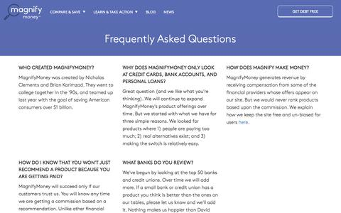 Screenshot of FAQ Page magnifymoney.com - Frequently Asked Questions | MagnifyMoney - captured Sept. 22, 2018