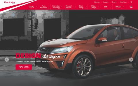 Screenshot of Home Page mahindra.com - Mahindra.com | Rise - captured Feb. 12, 2016